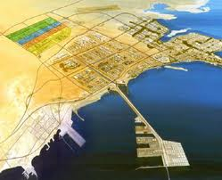 map of Jubail Industrial Complex, Sadara is shaded in yellow, orange and blue