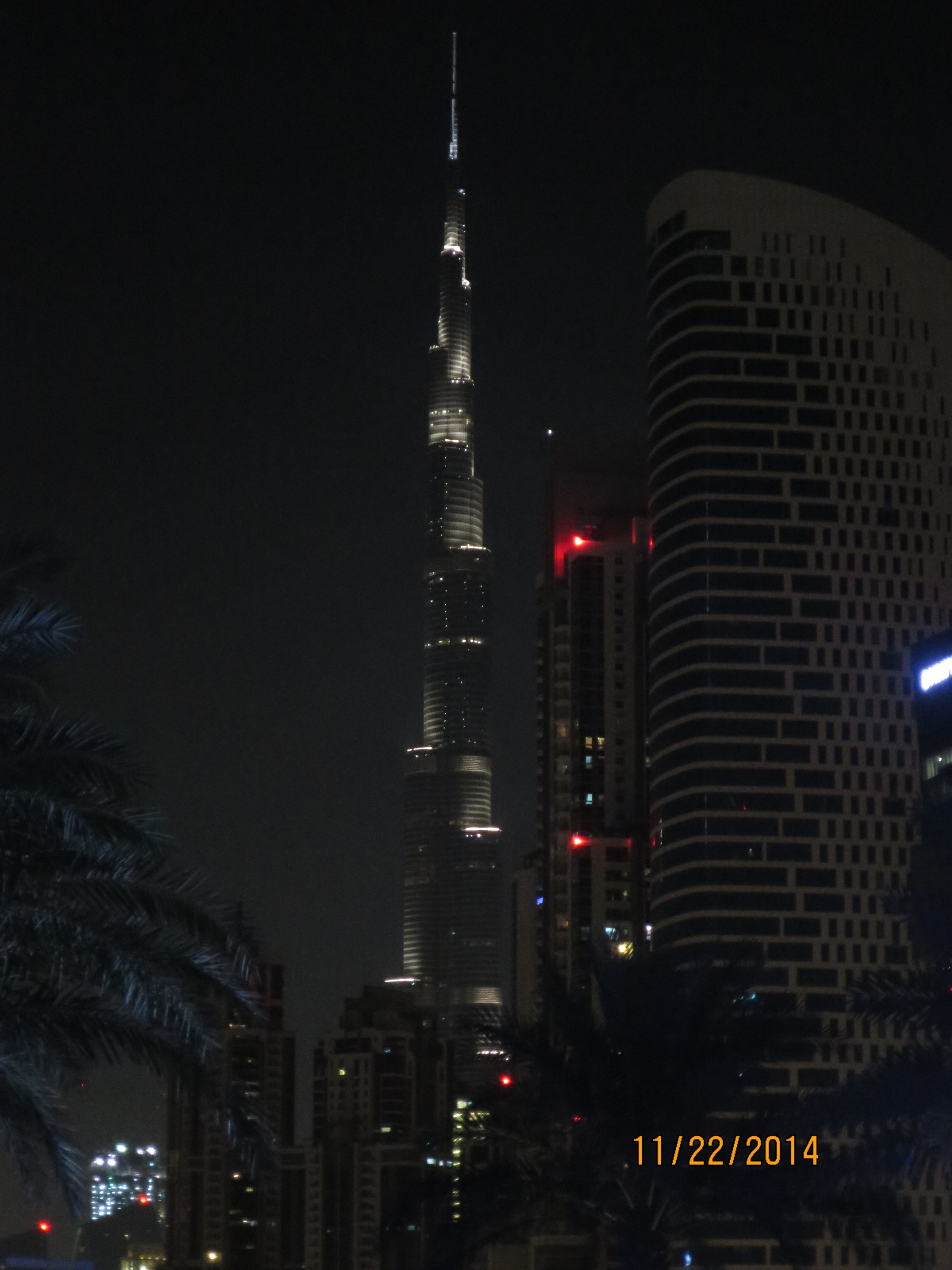 night view of the Burj Khalifa from the hotel