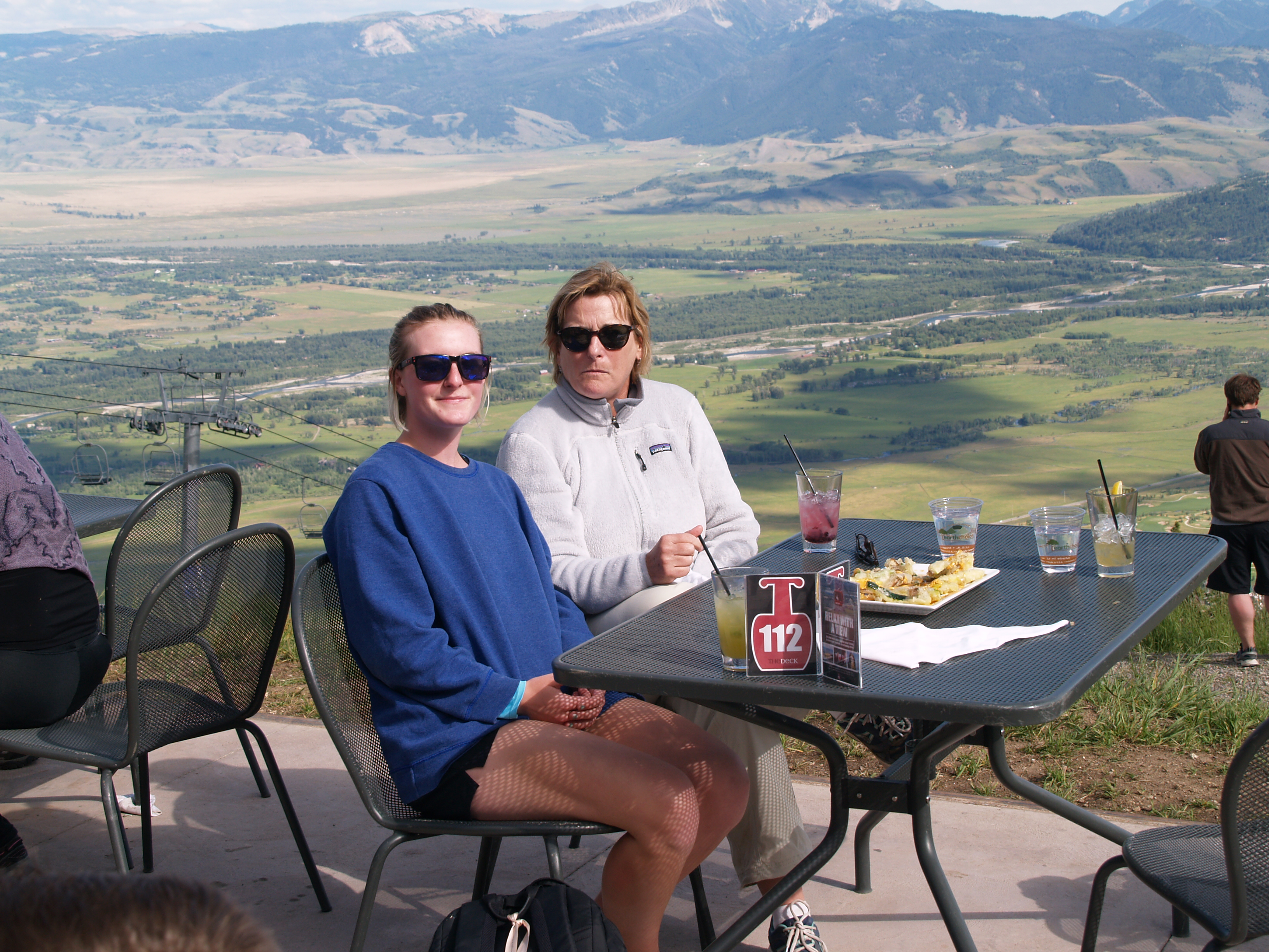 relaxing on the patio, part way up the mountain