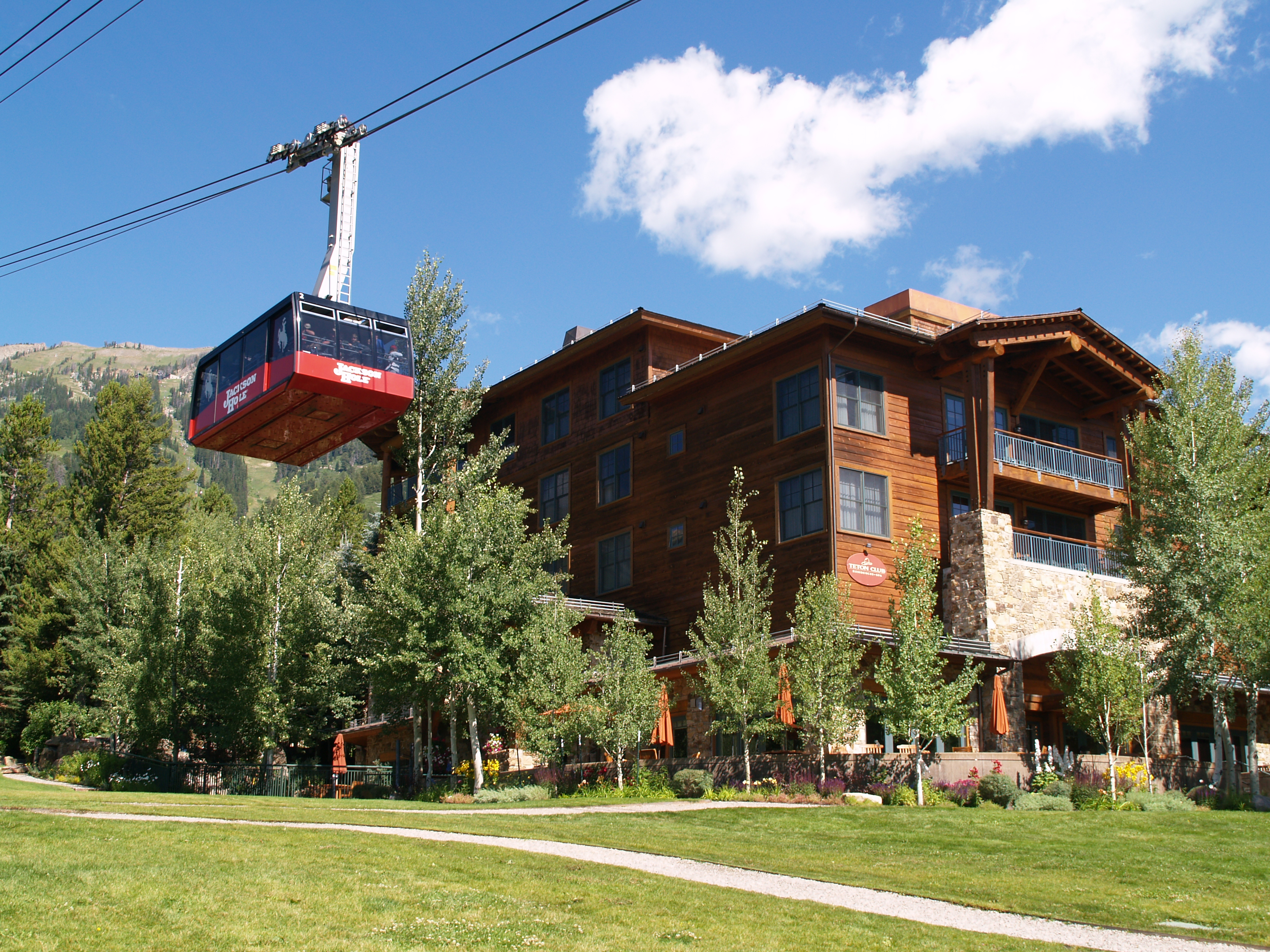 in Teton Village with the aerial tram