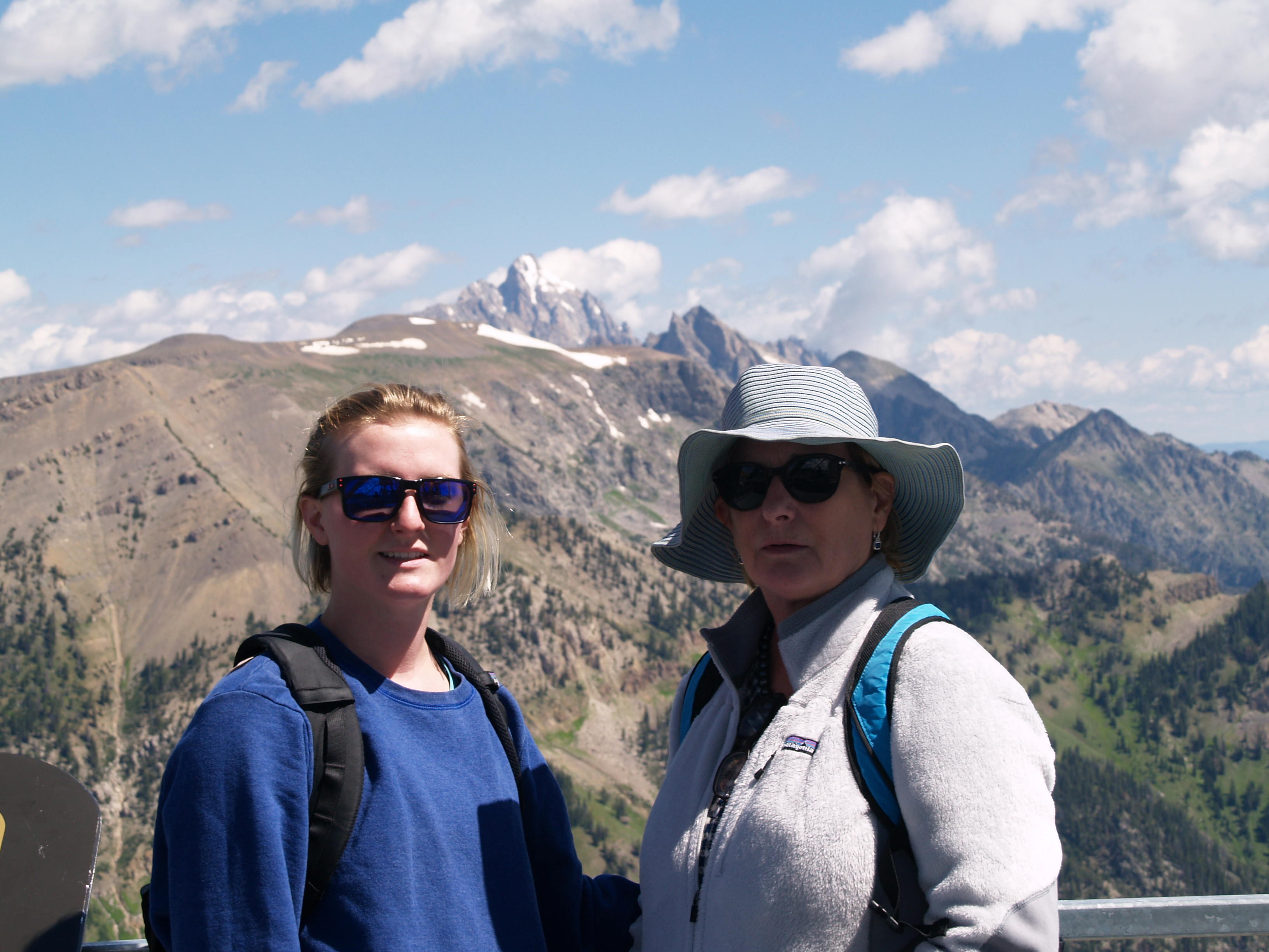 top of the tram, with the Grand Teton in the background